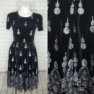 Lularoe RARE Amelia velvet glitter floral dress